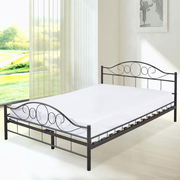 Mimi Fém ágykeret ajándék ágyráccsal 160x200cm, fekete